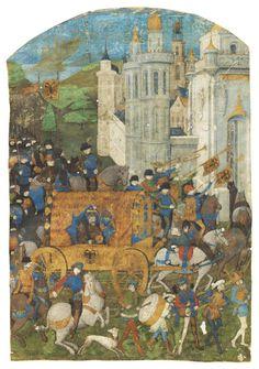 TRIUMPHAL PROCESSION OF THE HOLY ROMAN EMPEROR, cut from a manuscript [Rouen, 3rd quarter 15th C]