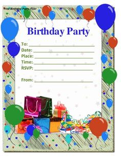 Birthday party invite maker design inspirations birthday party birthday party invite maker design inspirations birthday party invitation free printable with colorful balloon and modern border invitations cards stopboris Image collections
