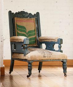 Vintage coffee sack reupholstered chair