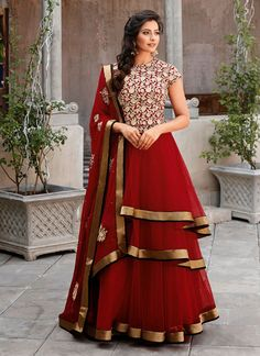 Red Net Party Wear Churidar Suit Shop now : http://www.cfashionbazaar.com