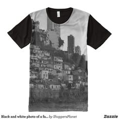 Black and white photo of a favela Rio Brazil All-Over-Print T-Shirt - Visually Stunning Graphic T-Shirts By Talented Fashion Designers - #shirts #tshirts #print #mensfashion #apparel #shopping #bargain #sale #outfit #stylish #cool #graphicdesign #trendy #fashion #design #fashiondesign #designer #fashiondesigner #style
