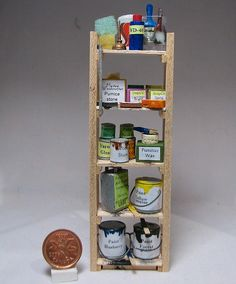 MINIATURE: Original pinner sez: Shelf in the woodworker's shop -- I made the shelf and everything on it except the oil can on the top shelf. By weebruins