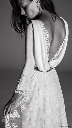 rime arodaky fall 2017 bridal cap sleeves illusion bateau sweetheart neckline full embellishment bohemian elegant sheath wedding dress cowl back low back sweep train (6) zbv