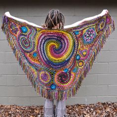 Wrapped in Rainbows Freeform Crochet Shawl // Ooak by OfMars