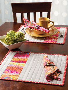 One of 10 quilt projects featured in Annie's NEW Stack, Slash & Sash Quilting. O… One of 10 quilt projects featured in Annie's NEW Stack,. Quilting Projects, Quilting Designs, Sewing Projects, Quilting Ideas, Small Quilt Projects, Table Runner And Placemats, Quilted Table Runners, Quilt Placemats, Small Quilts