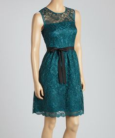 Love this Gabby Skye Emerald & Black Lace Sleeveless Dress by Gabby Skye on #zulily! #zulilyfinds