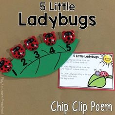 10 Fun Chip Clips Poems for Developing Math Concepts with Preschoolers Math Poems, Preschool Poems, Preschool Literacy, Preschool Rules, Kindergarten Songs, Preschool Music, Circle Time Activities, Math Activities, Bug Songs