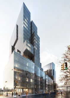 416-420 Kent by ODA in Brooklyn, New York, USA residential apartment block architecture, irregularly stacked boxes