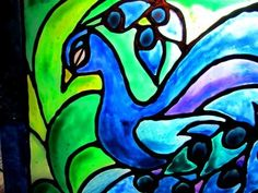 Painting Elem Art painting on acrylic plastic projects for kids   faux stained glass peacock / suzys artsy craftsy sitcom