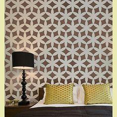 brown stencil wall