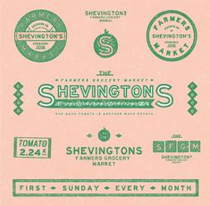 Shevingtons brand assets. Bold an classic with pink and green palette.