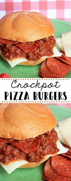 Crockpot Pizza Burgers - Ground beef slow cooks in pizza sauce and pepperoni for these awesome burgers that are ready when your busy family is for dinner! Slow Cooking, Slow Cooked Meals, Slow Cooker Recipes, Cooking Recipes, Healthy Recipes, Easy Dinner Recipes, Pasta Recipes, Easy Meals, Chicken Recipes