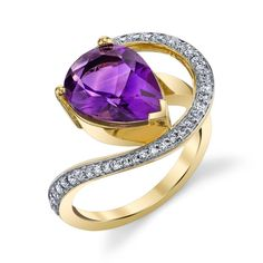 Take home a piece from Sami FIne Jewelry's American Gem Collection. This creative design was made in 14k yellow Gold and features aprox a 3.66 ct pear shape Arizona Four Peaks Amethyst. This bright purple Amethyst is surrounded by .30ct of brilliant white Diamonds. •$3,195.00