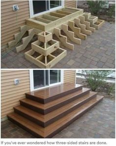 Home Discover Deck stairs - 27 gorgeous patio deck design ideas to inspire you updowny com Outdoor Projects Home Projects Project Projects Backyard Projects Types Of Stairs Deck Stairs Wood Stairs Front Porch Stairs House Stairs Backyard Patio, Backyard Landscaping, Wood Patio, Wood Decks, Diy Patio, Diy Deck, Backyard Layout, Patio Decks, Wood Deck Designs