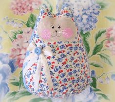Cat  Doll 6 inch Free Standing Kitty Ivory with by CharlotteStyle, $15.50