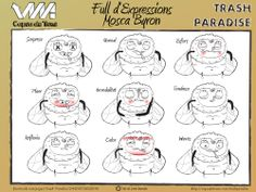 Full d'expressions de la mosca Byron. #trash #paradise #animation #expressions #character