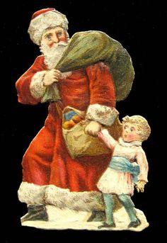 Alte Oblaten Glanzbilder, scraps: Fein geprägter Weihnachtsmann, um 1900