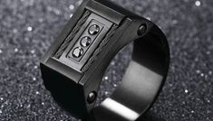 Available size: Main Color: Black. Black Sapphire, Titanic, Fashion Rings, Rings For Men, Band, Modern, Wire, Men Rings, Sash