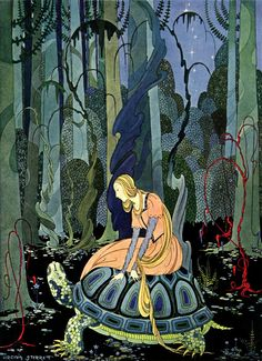 """""""Blondine and the Tortoise"""" Illustration by Virginia Frances Sterrett from Old French Fairy Tales (1919-1920)"""