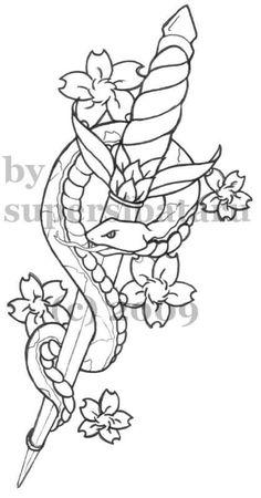 Snake and Dagger Tattoo by SuperSibataru on DeviantArt Sword And Rose Tattoo, Snake And Dagger Tattoo, Rose Drawing Tattoo, Sword Tattoo, Snake Tattoo, Tattoo Drawings, Dagger Drawing, 12 Tattoos, Feather Tattoos