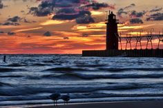 Lighthouse With Friends South Haven Michigan Photograph  -