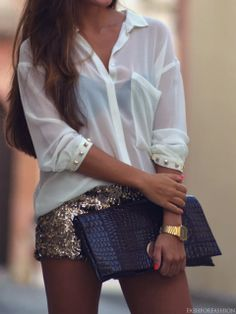 Sparkle Shorts and Sheer Shirt.