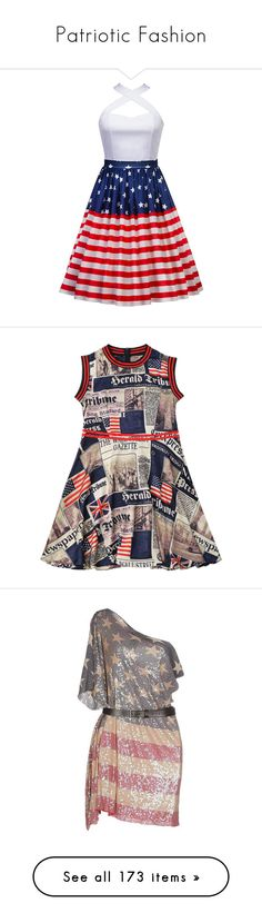 """Patriotic Fashion"" by jmn312 ❤ liked on Polyvore featuring skirts, dresses, high-waist skirt, high waisted knee length skirt, high waisted skirts, high-waisted skirts, red high waisted skirt, american flag dress, usa flag dress and american flag print dress"