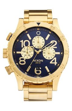 #blue and #gold Nixon watch http://rstyle.me/n/npf4zr9te