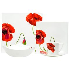 Summer Sun Place Setting 5Pc, $109, now featured on Fab.  Oh my!  My favorite flower, poppy, on a gorgeous place setting...