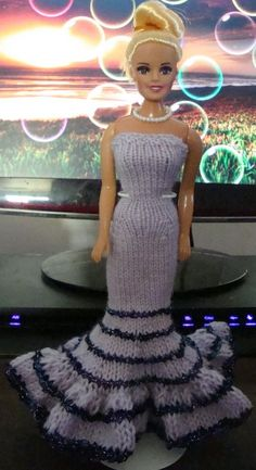 Lavender Gown trimmed with Purple Metallic Eyelash...