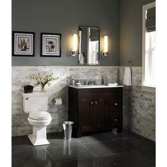 cc9dc821624e3 Powder room tile like this but flip flopped Allen + roth Palencia Espresso  Contemporary Bathroom Vanity