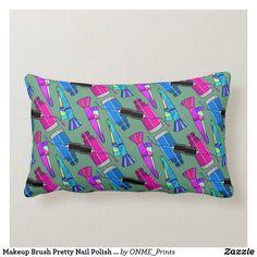 Shop Makeup Brush Pretty Nail Polish Pink Blue Lumbar Pillow created by ONME_Prints. Dark Gel Nails, Blue Nails, Custom Pillows, Decorative Pillows, Lime Green Nails, Lumbar Pillow, Throw Pillows, Acrylic Nail Shapes, Stiletto Nail Art