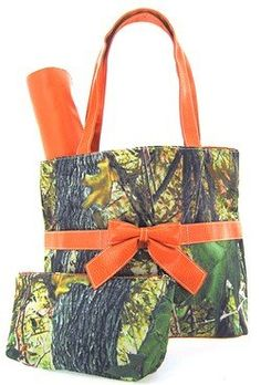 Camo Camouflage Tote Purse Diaper Bag You Choose Color! Pink Orange Brown or Black (Orange).
