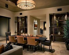 Love the setup #diningroom tables, chairs, chandeliers, pendant light, ceiling design, wallpaper, mirrors, window treatments, flooring, #interiordesign banquette dining, breakfast table, round dining table, #decorating