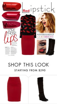 """Winter Warm Red"" by kgez ❤ liked on Polyvore featuring beauty, Celestine, Paule Ka, Geox and Yves Saint Laurent"