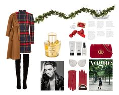 """Christmassy"" by norarl on Polyvore featuring Balmain, Christian Louboutin, Gucci, Linda Farrow and Acqua di Parma"