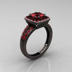 Red diamond black ring
