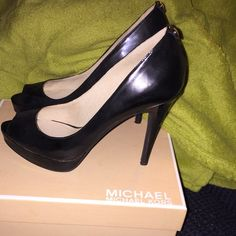 Michael Kors shoes Black patent, 4 1/2 inch heels, peep toe, worn once Michael Kors Shoes Heels