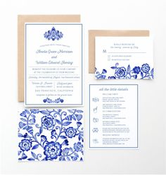 This invitation collection is inspired by a blue and white china pattern set. See the matching save the date in picture two and wedding