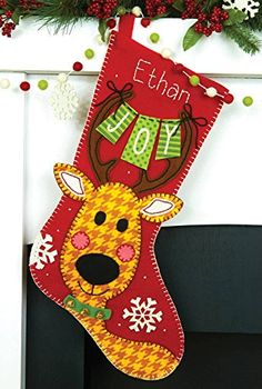 Reindeer Joy Christmas Stocking in Felt Applique - http://www.christmasshack.com/christmas-stockings/reindeer-joy-christmas-stocking-in-felt-applique/