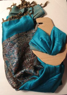 NEW Turquoise Pashmina with Silver/Purple Floral DesignOnly 1 in stock for now!