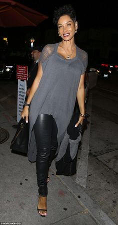 Stylish arrival: Nicole Murphy looked incredible in leather trousers and a floaty grey top as she arrived at Craig's restaurant in West Hollywood for a late night dinner on Friday Mode Outfits, Chic Outfits, Spring Outfits, Fashion Outfits, Nicole Murphy, Diva Fashion, Urban Fashion, Womens Fashion, West Hollywood