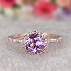 Wedding Ring Natural Amethyst Engagement ring,Halo Diamond wedding Rose Gold Round Cut Purple stone Promise Ring,Bridal Ring,New Design - Amethyst engagement ring Rose gold, Wedding Rings Simple, Wedding Rings Rose Gold, Beautiful Engagement Rings, Wedding Rings Vintage, Rose Gold Engagement Ring, Bridal Rings, Vintage Engagement Rings, Wedding Jewelry, Oval Engagement