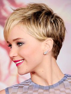 Jennifer Lawrence has a beautiful cut, short back, long front, and mid length sides