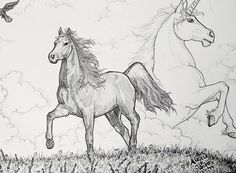 "My artwork ""Misty Travels"" -horse with unicorn in clouds. ~I've loved horses & unicorns since I was very little & always will! :) - - - horse, unicorn, animals, cloudy skies, sky unicorn, horned horse, steed, equines, art, illustration, b&w, drawing, realistic, aks creations."