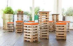 recycled pallet, restaurant, stool  Pallet stools at a pop-up restaurant by Joost Bakker for the Melbourne Food and Wine Festival. The whole building and all the furniture were made from reclaimed materials.