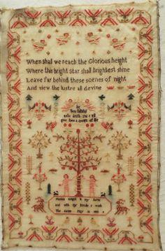 Early 19th Century Linen Wool Tree of Life Sampler by Matilda Knight 1841   eBay