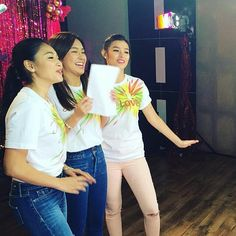 "This is Nadine Lustre, Kathryn Bernardo, and Liza Soberano singing the theme song and recording together during the recording session for the 2015 ABS-CBN Christmas Station ID, ""Thank You for the Love!"""