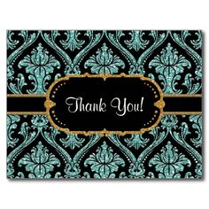 Faux Gold Glitter Damask Floral Pattern Stationery Post Cards