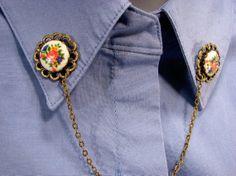 Sweater Guard Porcelain Flowers on Bronze by SpinTilYurDizzy, $15.00